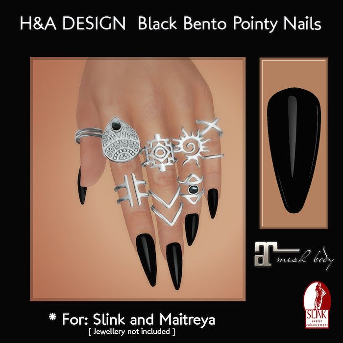 [H&A Designs]-Black Pointy Nails