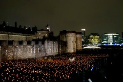 Candle flames at the Tower of London..