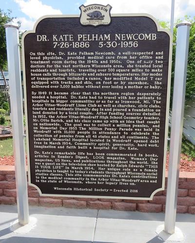 Dr. Kate Pelham Newcomb Marker (Woodruff, Wisconsin)