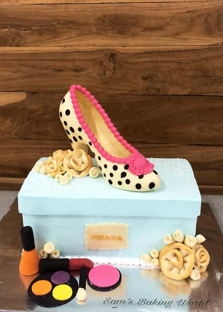 Fresh Cream Cake Shoe Box With White Chocolate Shoe and Modeling Chocolate Flowers And Makeup Accessories. By Asma Ayaz of Sam's Baking World