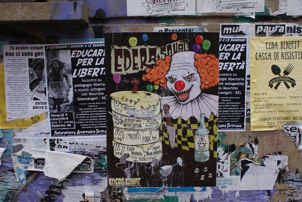 Affiche de concerts dans le quartier de Vanchiglia à Turin