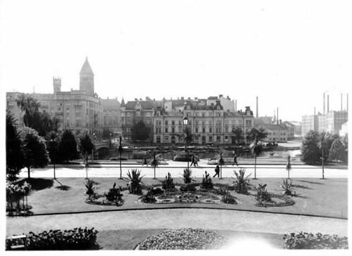 Kaktusgruppen i Karl Johans Park, vy mot Refvens grund, 1924