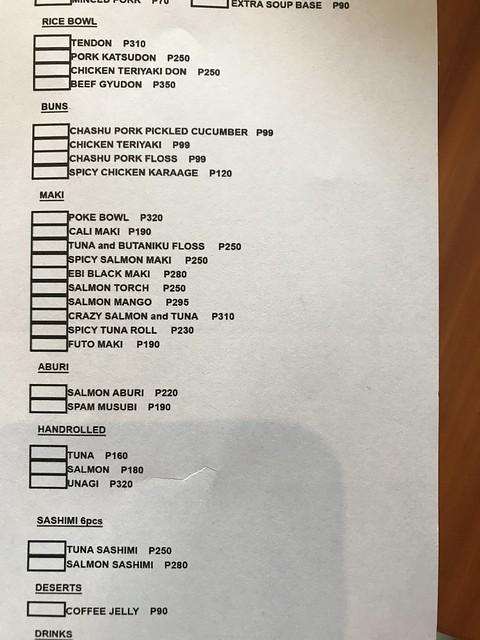 Ohayo ramen menu list