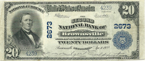1902 $20 National Bank Note Second national Bank of Brownsville