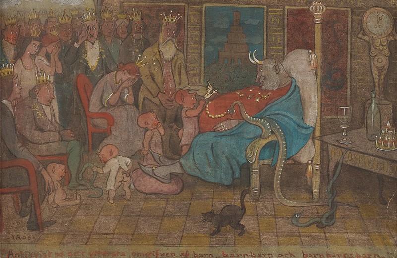 Ivar Arosenius - Antichrist at Death's Door, Surrounded by Children, Grandchildren and Great Grandchildren, 1906