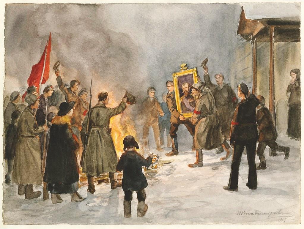 1917. Сожжение орлов и царских портретов 5 марта
