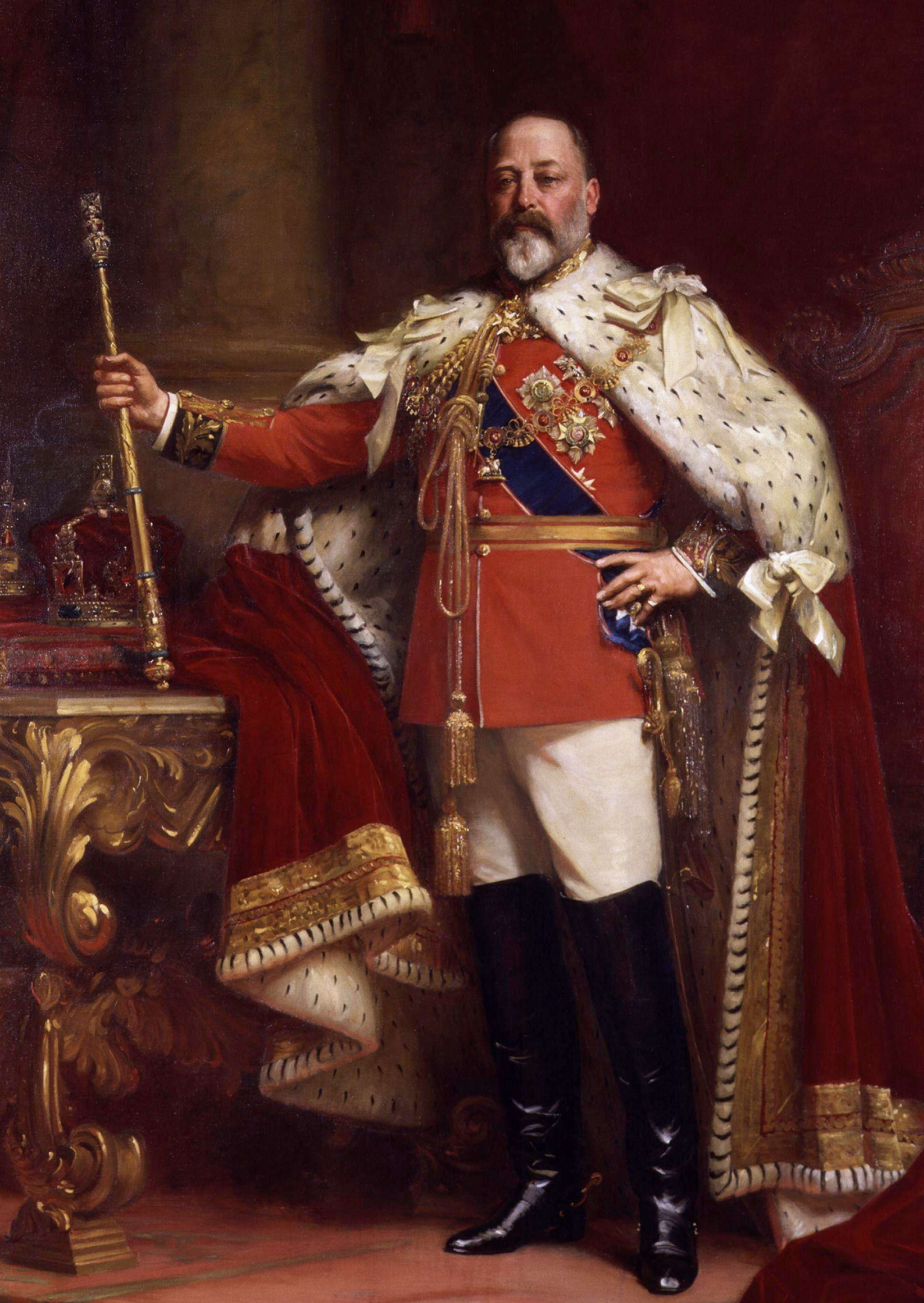 Portrait of King Edward VII (1841-1910), oil on canvas painting by Sir Luke Fildes, 1902 replica of 1901 portrait. Gven to the National Portrait Gallery, London in 1912. (NPG 1691)