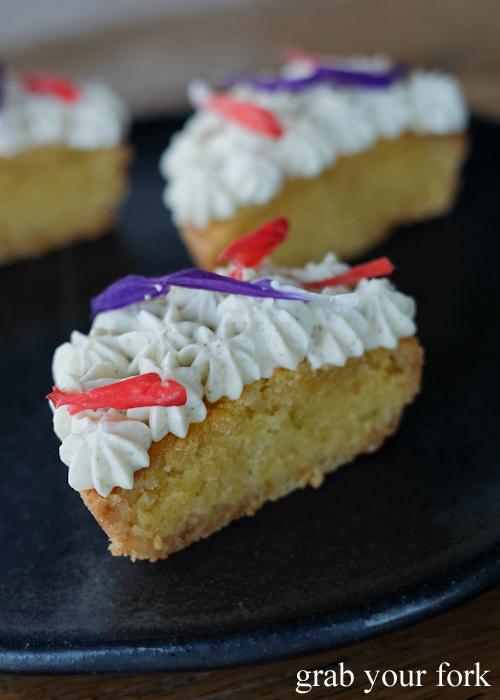 Frangipane tart petit four at LuMi restaurant in Pyrmont Sydney