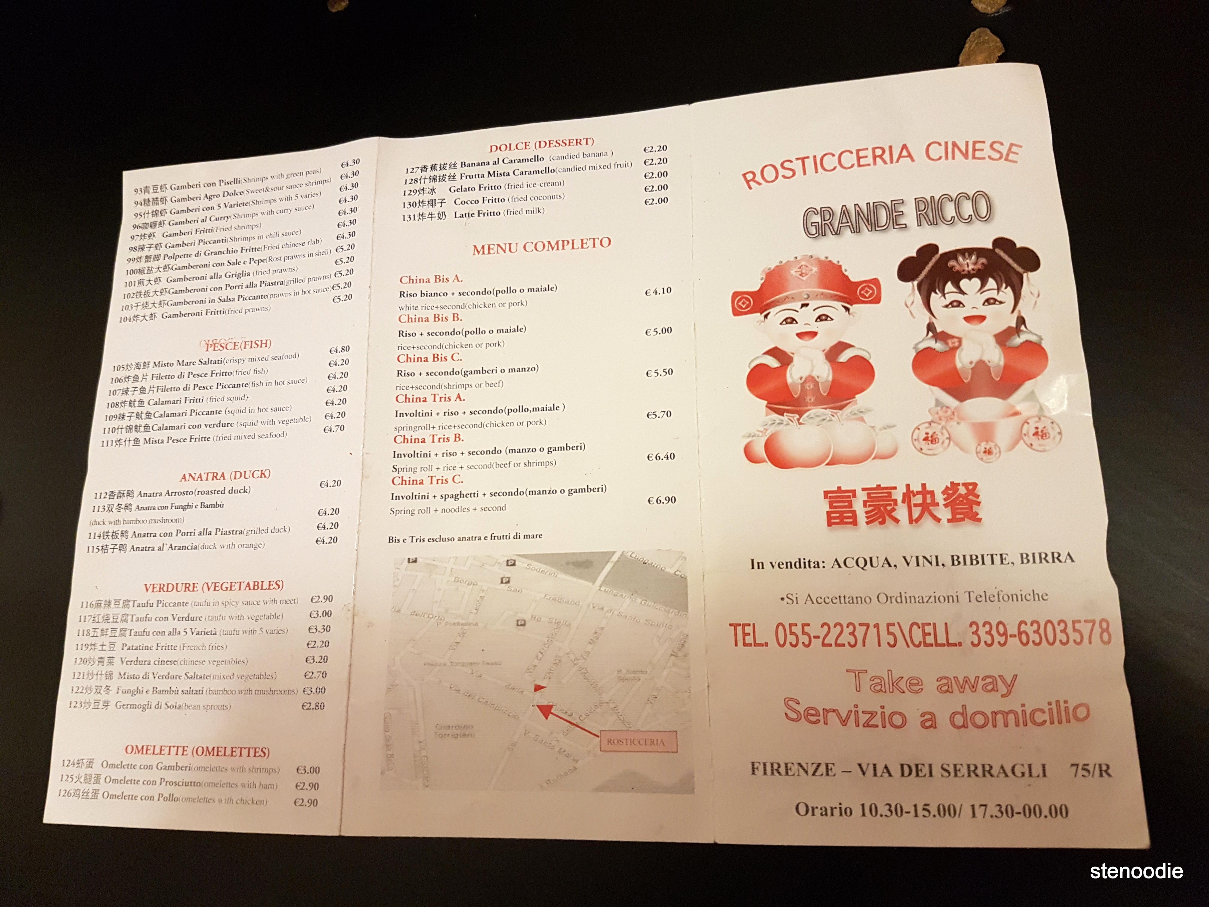 Rosticceria Girasole menu and prices