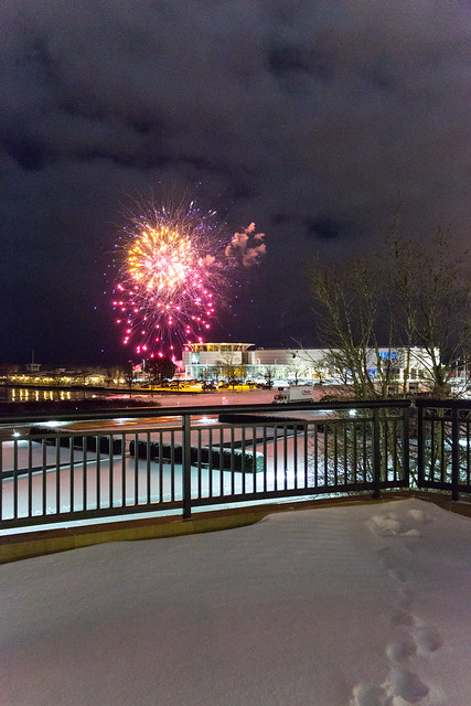 Snow Fireworks Over Harbor House
