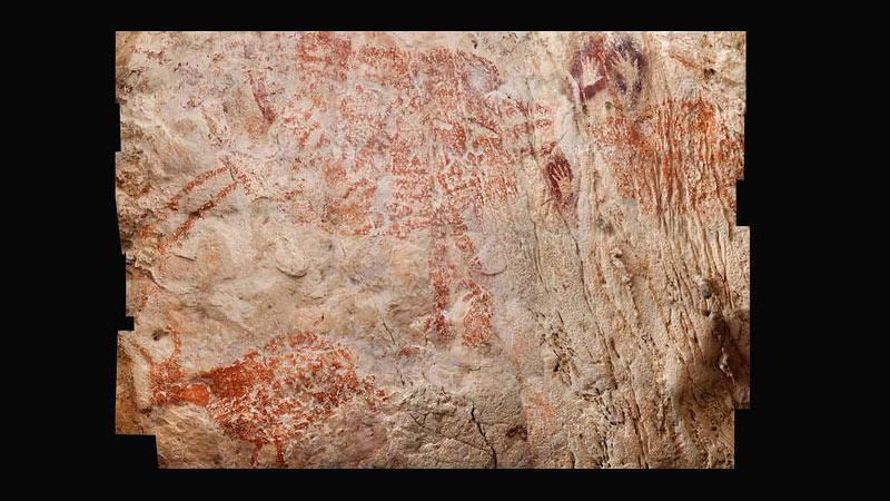 Lukisan hewan berusia 40.000 tahun di gua Kalimantan, Indonesia.