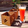 Post walk hydration on a sunny summer Sunday afternoon #craftbeer #raspberrysour #rewardsforhardwork #summer Image description: a cold refreshing raspberry sour beer, deliciously pinkish in a tall slender glass, sits on a wooden table in the star shaped s