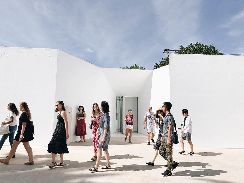 Architecture students in the option studio To Inhabit, with Baird Visiting Critic Manuel Aires Mateus and Visiting Critic Rodolfo Dias look around the Santa Marta Lighthouse museum designed by Manuel Aires Mateus during their trip to Lisbon, Portugal.  photo / Ihwa Choi (B.Arch. '20)