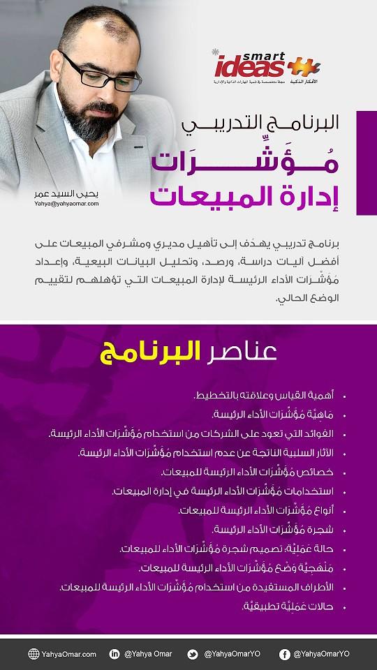 دورة مؤشرات ادارة المبيعات 2019 للمحاضر يحيي السيد عمر