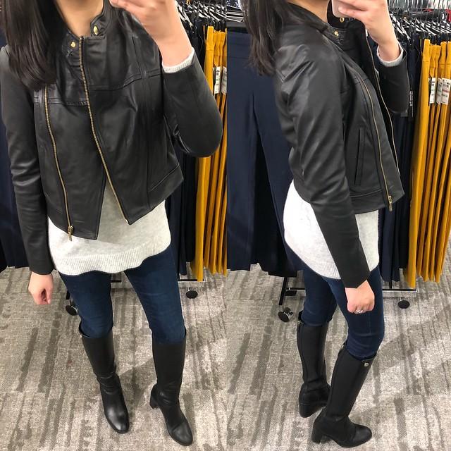 Michael Kors Leather Moto Jacket, size P