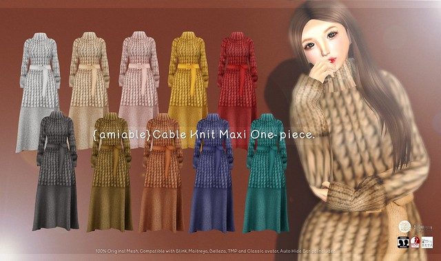{amiable}Cable Knit Maxi One-piece@ N°21 Dec(50%OFF SALE).