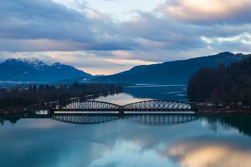 Train bridge over the Drau