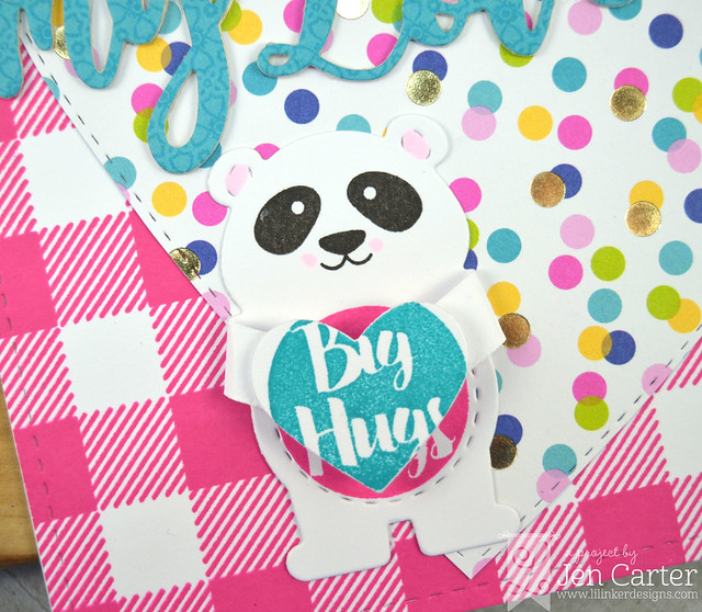 Jen Carter Bear Hugger Sending My Love Forever Heart Layer Cozy Plaid Pink Closeup Closed