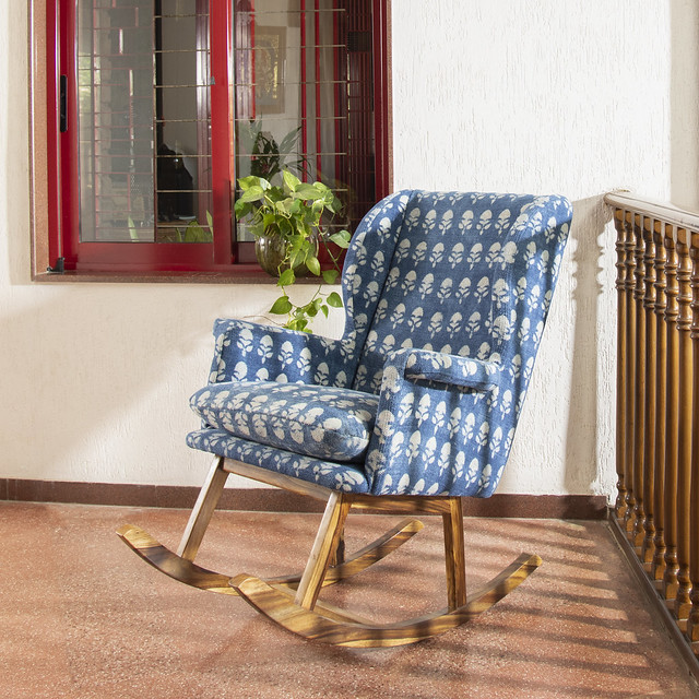 Block printed upholstered rocking chairs