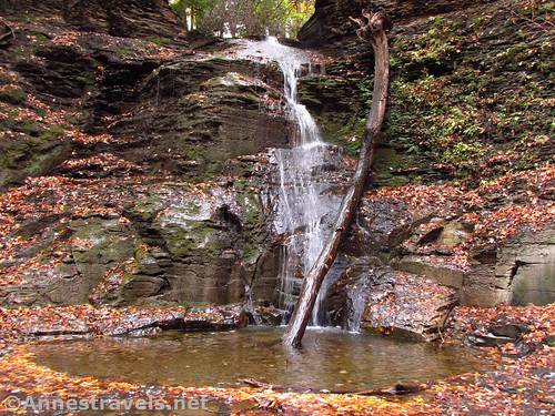 Third Falls, the tallest of the waterfalls in Barnes Creek Gully, Onanda Park in the Finger Lakes of New York
