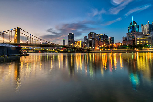 alleghenyriver hdr nikon nikond5300 outdoor pennsylvania pittsburgh robertoclementebridge bridge city clouds downtown geotagged lights longexposure morning reflection reflections river sky skyscraper sunrise water