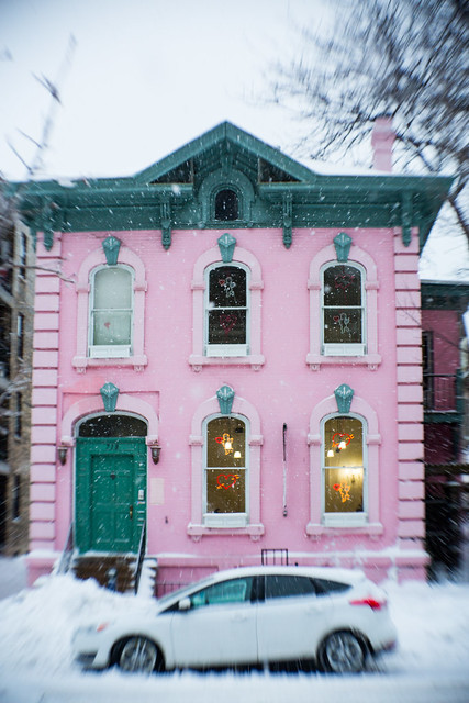 Pink House White Storm