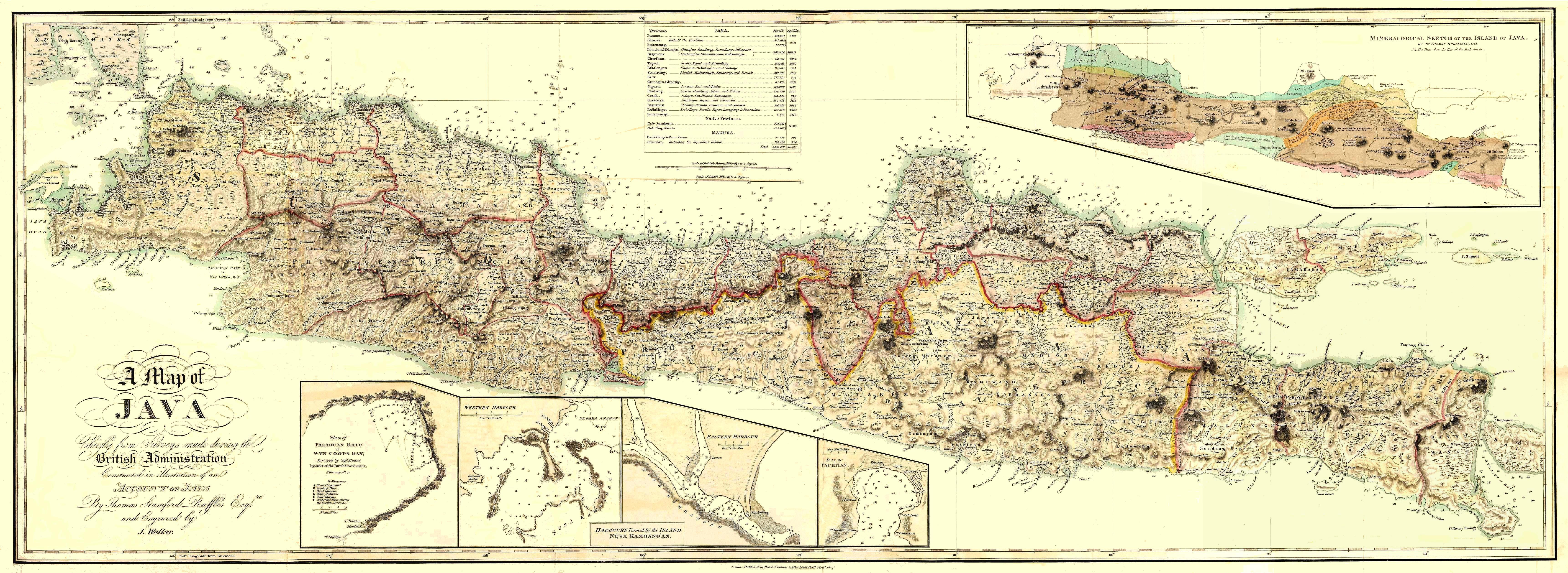 Map of Java based on surveys by Sir Stamford Raffles.