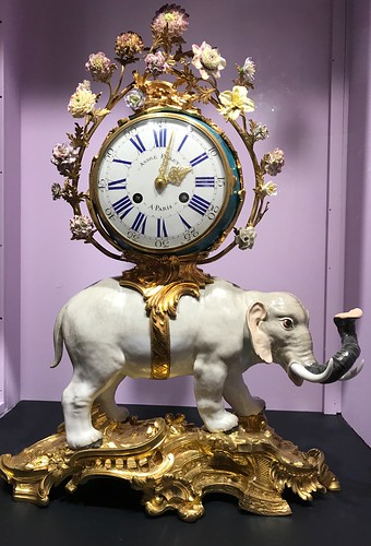 Catherine the Great's Porcelain Elephant Clock 18th Century, at the Halim Time and Glass Museum. From History Comes Alive Touring Chicago's North Shore
