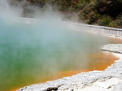 Rotorua. The sulphur coloured edge of  Champagne Lake in the geothermal volcanic park of Wai O Tapu.