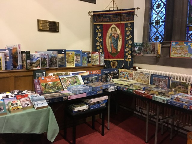 Jigsaws and books stall.