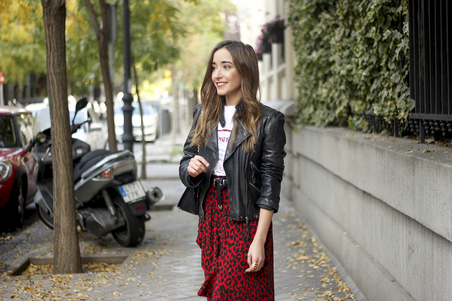 midi skirt red leopard print trend black biker jacket converse street style fall outfit 20186290