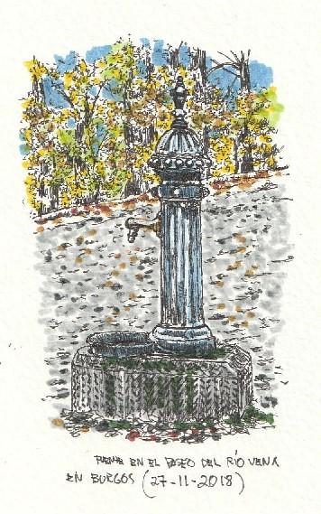 Burgos. Fuente en paseo río Vena