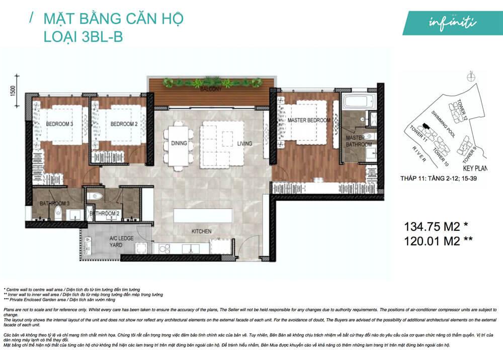 Mặt bằng căn hộ 3 phòng ngủ lớn B The Infiniti - Riviera Point quận 7.
