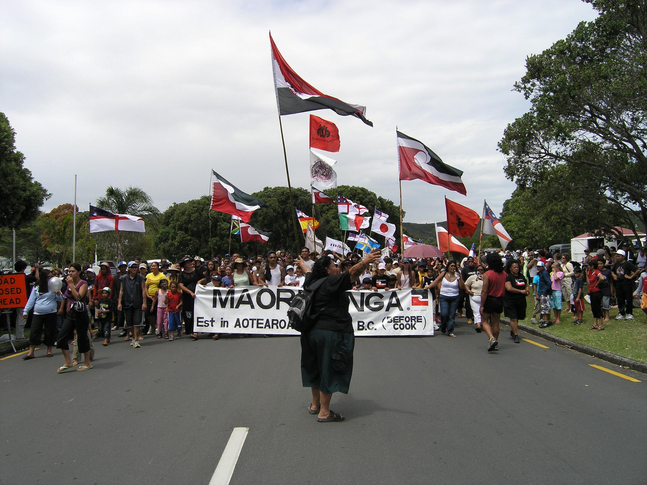Maori protesters near Waitangi on Waitangi Day, February 6, 2006. Photo taken by <a href=