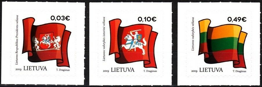 Lithuania - Symbols of the State: Flags (January 4, 2019) set of 3