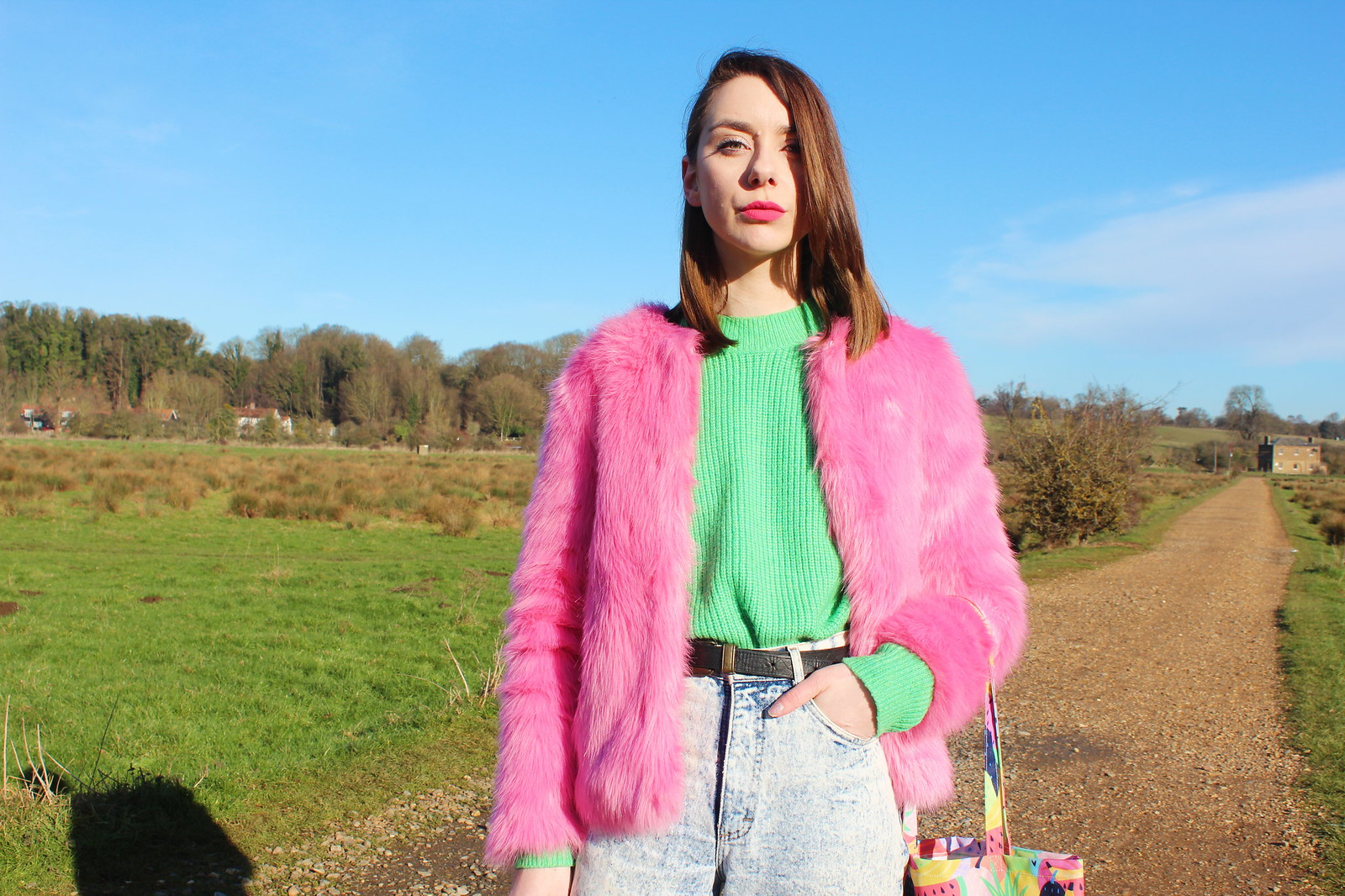 Pink Fur Coat, Green Knit and Mom Jeans