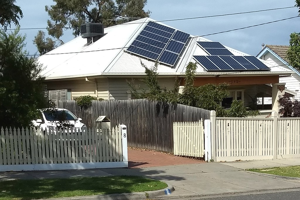 Solar panels on a roof in Bentleigh