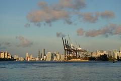 Port of Miami cranes and downtown skyline - Miami, Florida