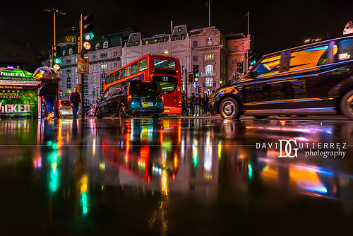 Raindrops - Piccadilly Circus, London, UK