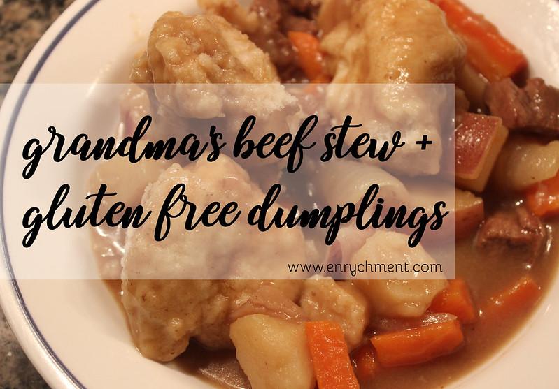 homemade gluten free beef stew and dumplings recipe