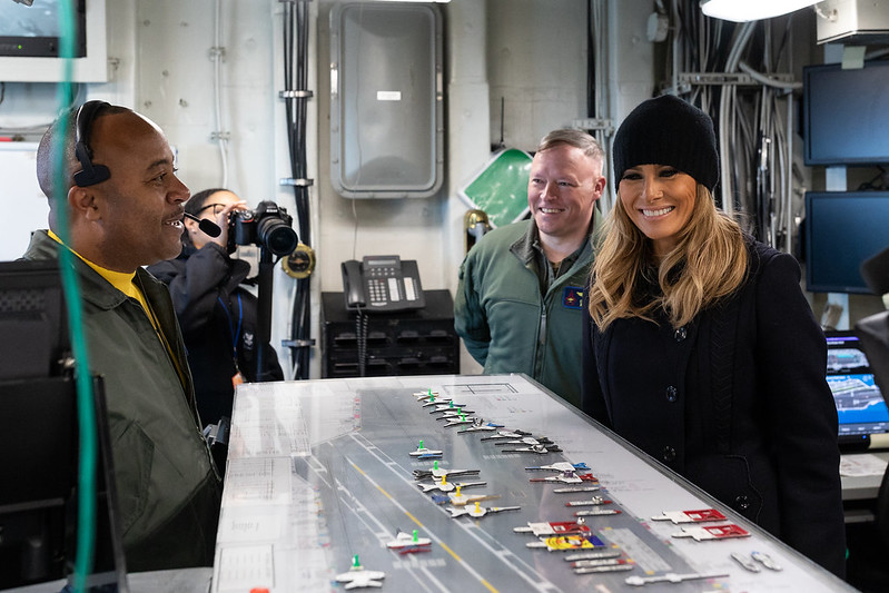 First Lady Melania Trump Aboard the USS George H.W. Bush