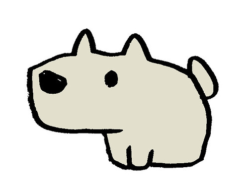 つま先をそろえる犬