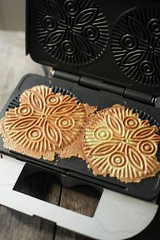 banh kep, hot off the pizzelle iron