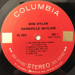 BOB DYLAN:NASHVILLE SKYLINE(LABEL SIDE-A)
