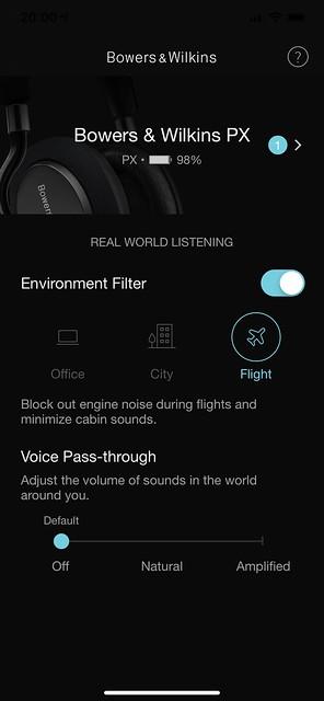 Bowers & Wilkins Headphones iOS App - Environment Filter