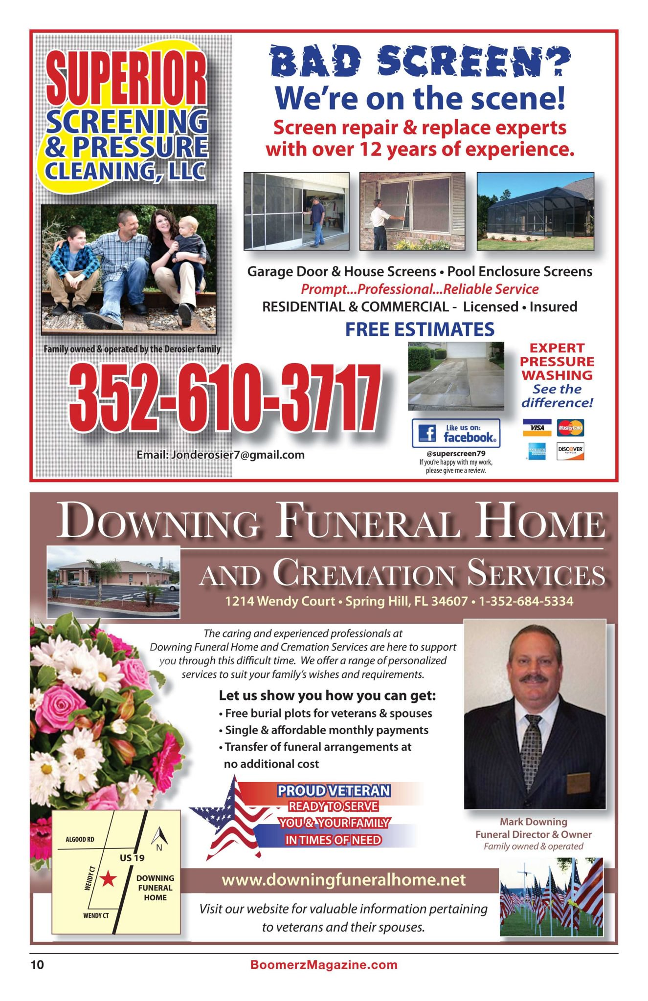 Boomerz Magazine 2018 November Superior Screening Downing Funeral Homes