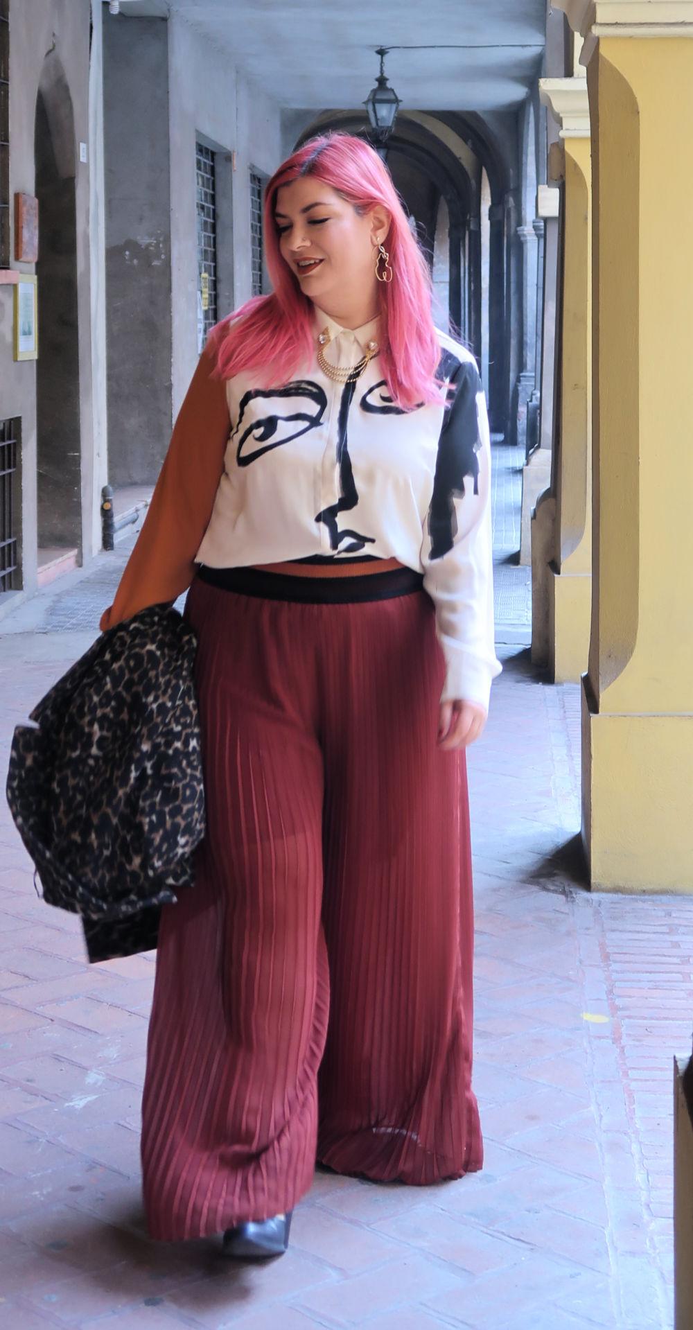 outfit plus size, curvy, panta palazzo e cappotto leopardato (12)