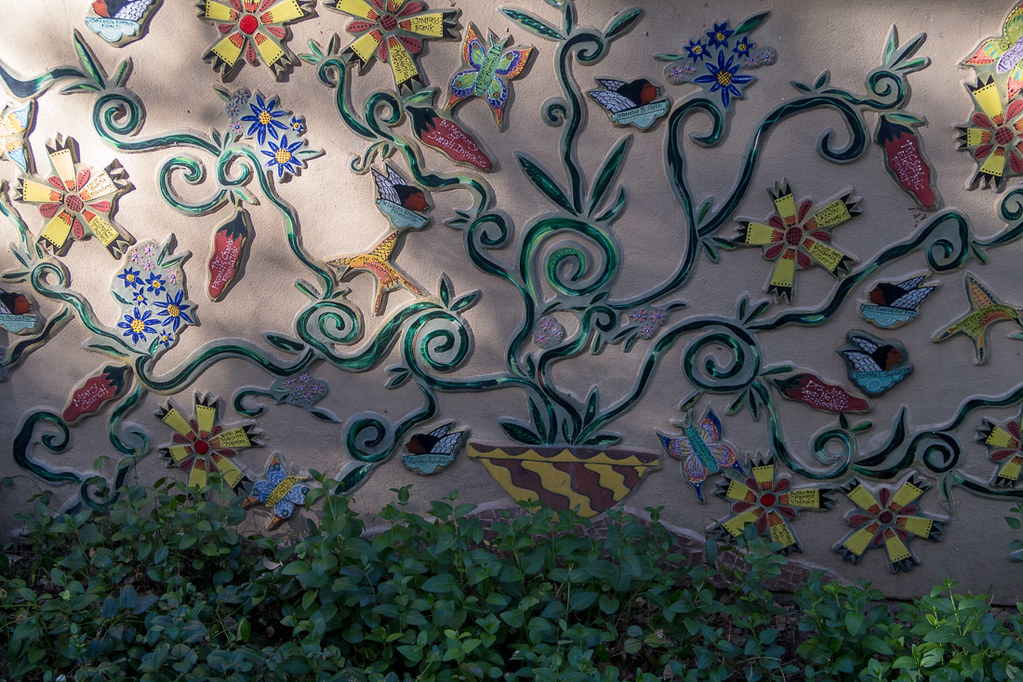 Colorful wall decor at Tucson Botanical Gardens