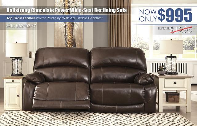 Hallstrung Chocolate Wide Seat Reclining Sofa_U52402-47-SET