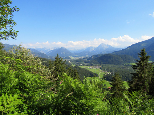 View of region around Reutte from trail Dreiländereck